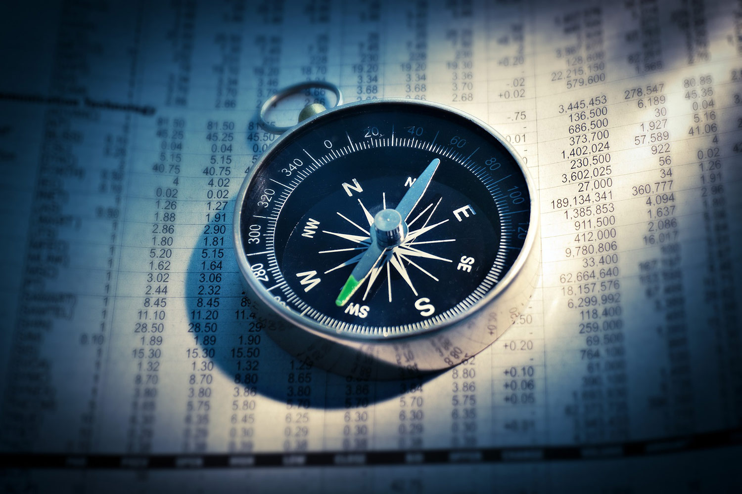 Compass On Top Of Financial Papers